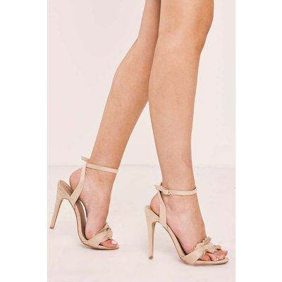 Nude Heels - Texana Nude Faux Suede Frill Strappy Heels