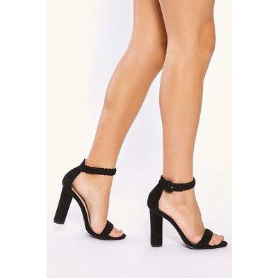 Black Heels - Alizia Black Plait Ankle Strap Heels