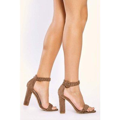 Mocha Heels - Alizia Mocha Plait Ankle Strap Heels