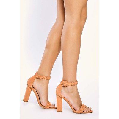 Peach Heels - Alizia Peach Plait Ankle Strap Heels