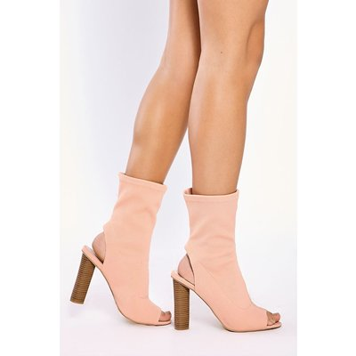 Pink Boots - Charly Pink Stretch Knit Peep Toe Boots