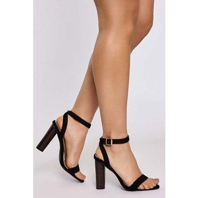 Black Sandals - Jaicee Black Faux Suede Wood Effect Heel Sandals