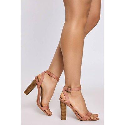 Pink Sandals - Jaicee Pink Faux Suede Wood Effect Heel Sandals