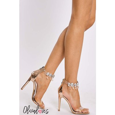 Rose /gold Heels - Olivia Loves Rose Gold Jewel Clear Strap Heels