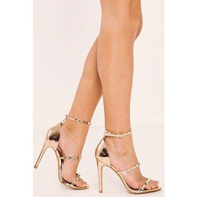 Gold Heels - Lerola Rose Gold Chrome Studded Strappy Heels