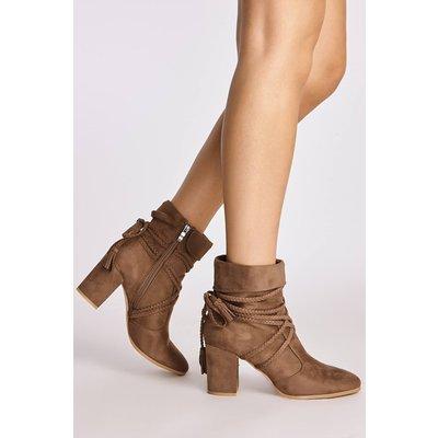 Mocha Boots - Tristen Mocha Faux Suede Plaited Tie Ankle Boots