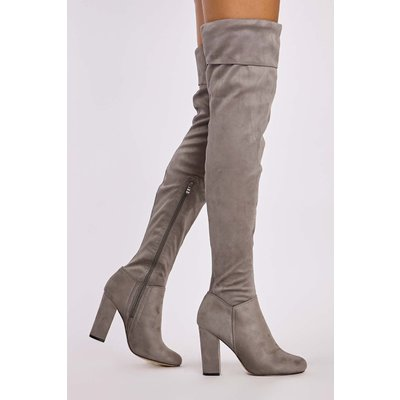 Grey Boots - Jolita Grey Faux Suede Folded Top Thigh High Boots