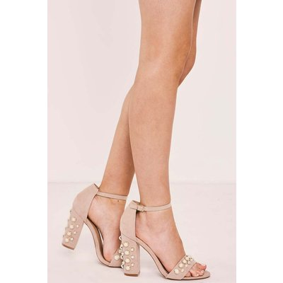 Nude Heels - Sherlyn Nude Pearl Strappy Heels