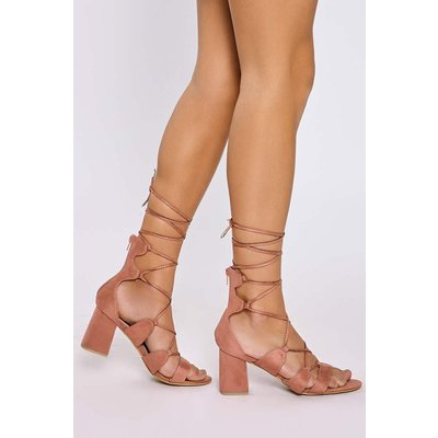 Pink Heels - Kaida Pink Faux Suede Lace Up Open Toe Heels