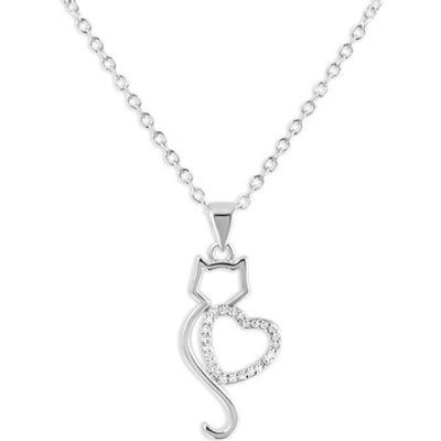 Fashionvictime  Pendant For Woman By  - Cat Silver And Rhodium Plated - Cubic  women's Necklace in O