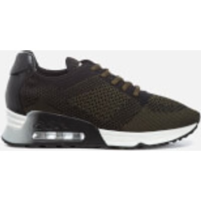 Ash Women's Lucky Knit/Nappa Wax Runner Trainers - Army/Black - UK 6 - Grey