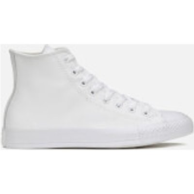Converse Unisex Chuck Taylor All Star Leather Hi-Top Trainers - White Monochrome - UK 6 - White