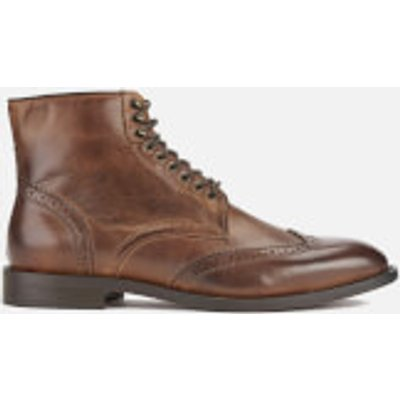 Hudson London Men's Greenham Leather Brogue Lace Up Boots - Cognac