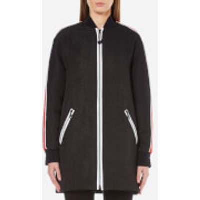 KENZO Women's Contrast Athletic Side Stripe Long Bomber  - Black