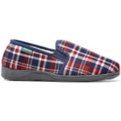 Dunlop Men's Allard Check Slippers - Wine - UK 7 - Burgundy