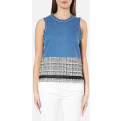 Karl Lagerfeld Women's Denim and Boucle Top - Blue
