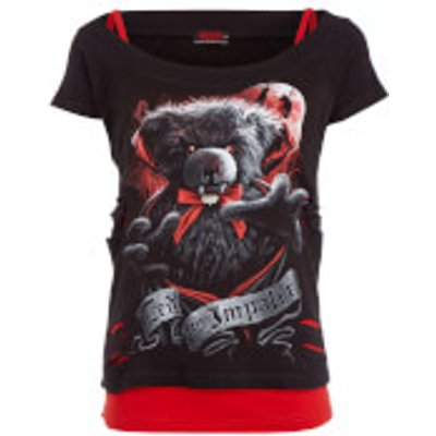 Spiral Women's Ted The Impaler 2-in-1 Ripped Top - Black/Red - M - Black/Red