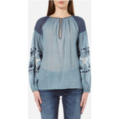 Maison Scotch Women's Sheer Cotton Tunic Top with Special Embroideries - Blue