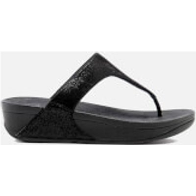FitFlop Women's Shimmy Suede Toe-Post Sandals - Black Glimmer - UK 5 - Black