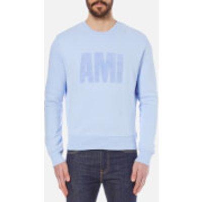 AMI Men's Flock Logo Crew Sweatshirt - Sky Blue