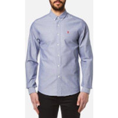 AMI Men's Heart Logo Oxford Shirt - Indigo