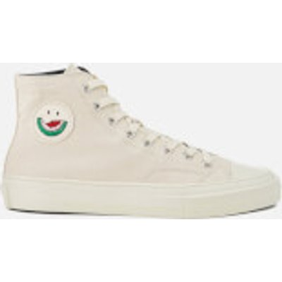 PS by Paul Smith Men's Kirk Canvas Embroidered Patch Hi Top Trainers - Ecru