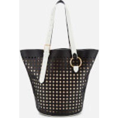 Diane von Furstenberg Women's East/West Belted Perforated Tote Bag - Black/Ivory
