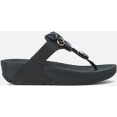 FitFlop Women's Honeybee Jewelled Toe-Thong Sandals - Black - UK 3 - Black
