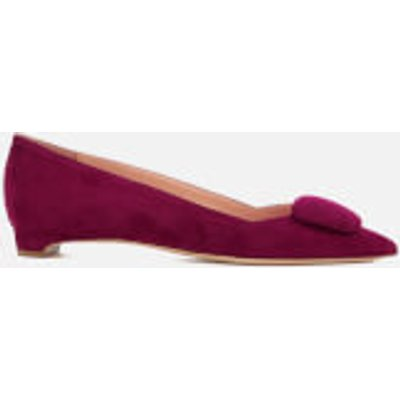Rupert Sanderson Women's Aga Suede Pointed Flat Shoes - Sangria