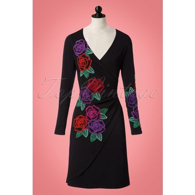 60s Buenos Aires Embroidery Dress in Black