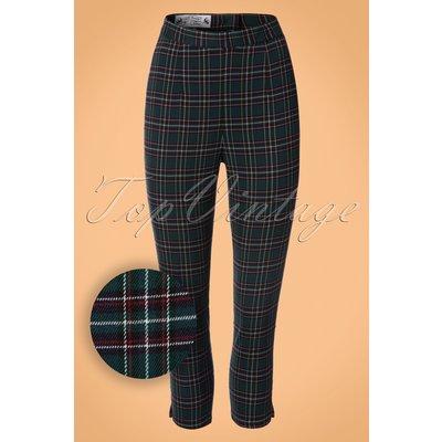 50s Peebles Tartan Cigarette Trousers in Green