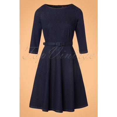 60s Betty Denim Dress 3/4 Sleeve in Ink Blue