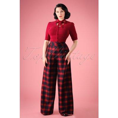 40s Rita Tartan Trousers in Red