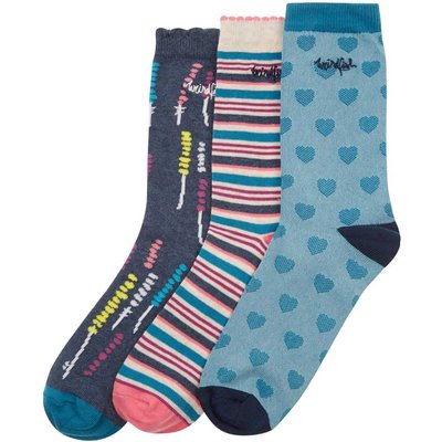 Weird Fish Parade Pattern Sock 3-Pack Dark Navy Size 4-7