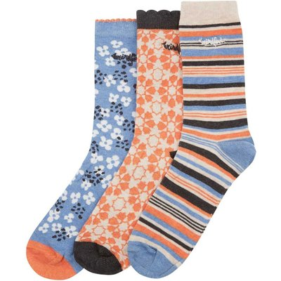 Weird Fish Parade Pattern Sock 3-Pack Clementine Size 4-7