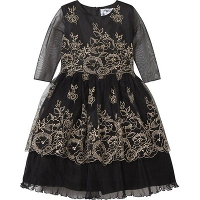 Black and Gold Hand Embroidered Dress