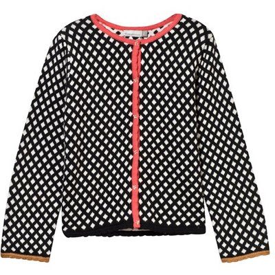 Black and White Graphic Knit Cardigan