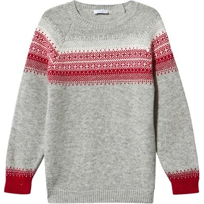 Grey and Red Fairisle Knit Jumper