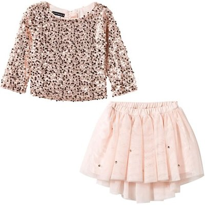 Rose Gold Sequin Top and Sequin Skirt Set