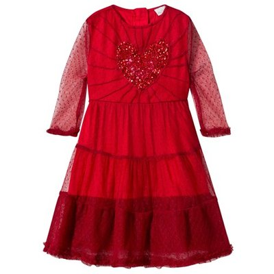 Red Love Dress with Sequin Heart
