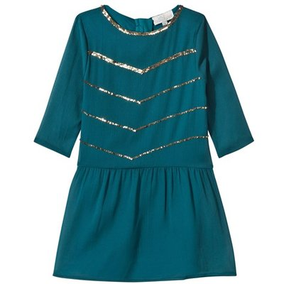 Teal Sequin Detail Suki Dress with 3/4 Sleeves