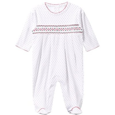 White and Red Spot Smocked Babygrow