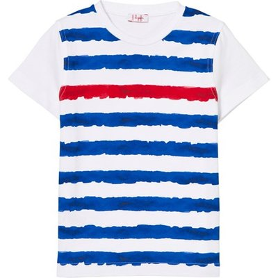 White, Blue and Red Stripe Tee