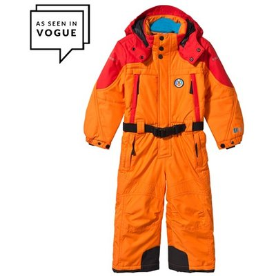 Orange and Red Embroidered Ski Suit