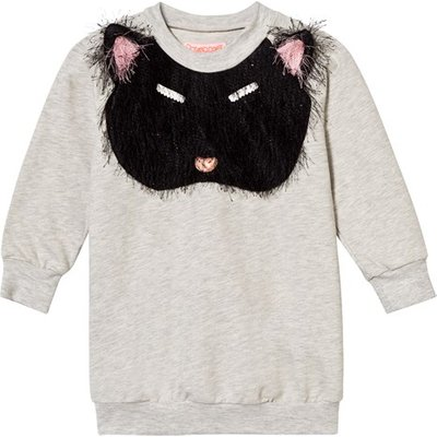 Grey Marl Fluffy Cat Applique Pixie Bob Sweat Dress