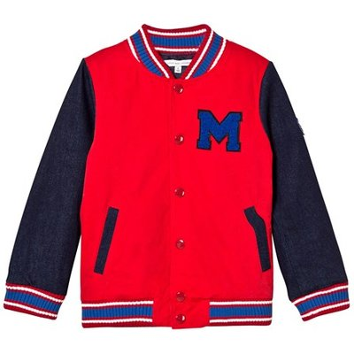 Red and Blue Branded Bomber Jacket