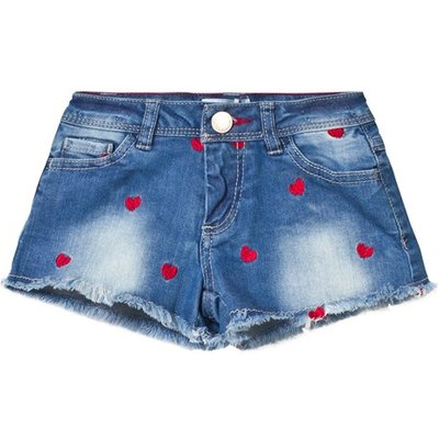 Mid Wash Heart Embroidered Denim Shorts