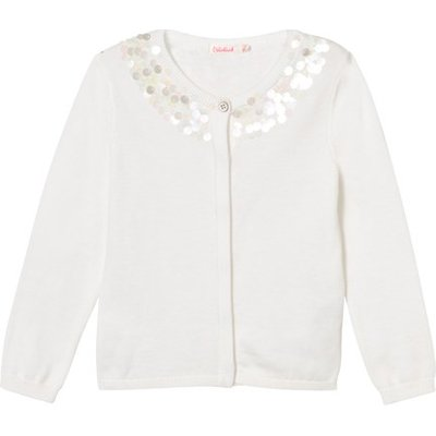 White Knit Cardigan with Sequin Neckline