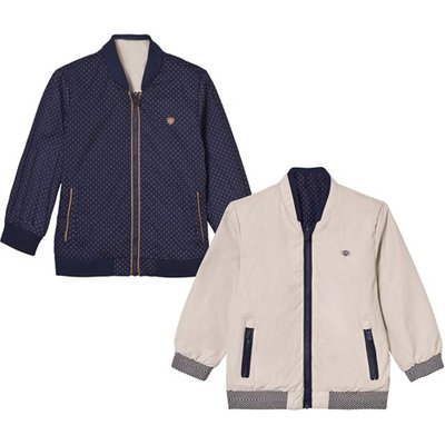 Navy and Beige Reversible Bomber Jacket
