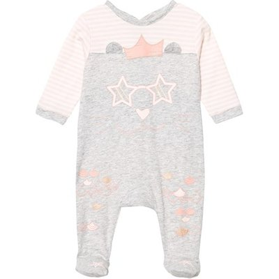 Grey and Pink Cat Print Babygrow in Box